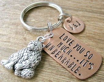 Teddy Bear Keychain, Love You So Much It's Unbearable, optional initial disc, anniversary gift, boyfriend gift, valentine's day, gay couple