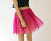 Sample SALE - hot pink silk chiffon skirt