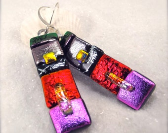 Dichroic glass earrings, Fused glass earrings, Fused glass jewelry, Hana Sakura, striped earrings, modern jewelry, glass fusion, creative