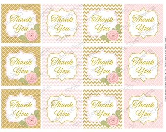 Printable Pink and Gold Thank You Tags - Instant Download
