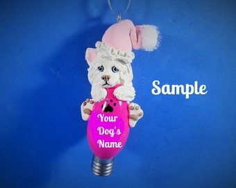 White Siberian Husky Santa dog Christmas Light Bulb Ornament OOAK by Sally's Bits of Clay PERSONALIZED FREE with dog's name
