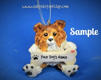 Sable Collie Christmas Bone Ornament Sally's Bits of Clay PERSONALIZED FREE with dog's name