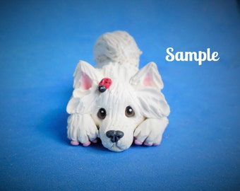 Samoyed dog on tummy with ladybug on head Sculpture OOAK polymer clay art by Sally's Bits of Clay