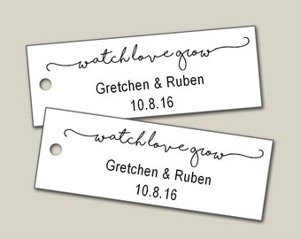 Watch Love Grow Tags, Custom Tags, Mint To Be Tags, Personalized Tags, Wedding Tags, Product Tags, Gift Tags, Personalized Tags - Set of 25