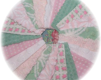 Vintage Chenille Bedspread Quilt Charm Squares Kit  6 inch DIY Lot Mints and Pinks Rosebuds