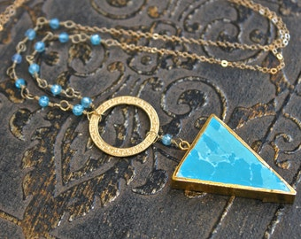 24Kt Gold Electroplated Edge Howlite Turquoise Triangle Pendant Necklace