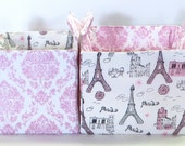 CUSTOM ORDER for Pat - Two Glitter Pink Paris Nesting Boxes with Handles for Storage