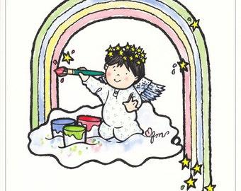 Paint Me A Rainbow print, Angel Print, Angel Picture, Rainbow, Print from Watercolor, Children's Decor, Original Art, Print