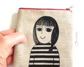 Screen Printed Limited Edition Mandy Purse, Bag, Pouch by Jane Foster  -  linen - monochrome design