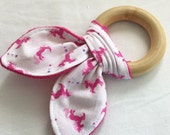 Natural Wooden Teether with Crinkles - Unicorns in Pink - New Baby Girl Gift - Natural Teething