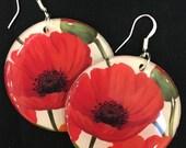 Red Poppy Flower Large Resin Earrings - light weight - white backs