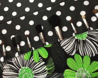 Makeup brush roll, Crochet hook organizer , paintbrush roll , green floral, polka dot