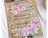 CLIPBOARD Shabby Chic Standard Clip Board Hand Painted Roses Pink Vintage Sheet Music svfteam sct ecs schteam