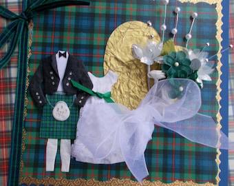 Scottish Wedding Luxury Congratulations Card - Blue/Green