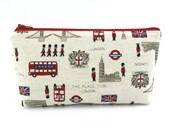 London Linen Cosmetic Bag, Zip Pouch, Makeup Bag, Pencil Case, Zipper Bag