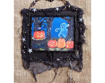 Halloween decoration mixed media assemblage collage framed print original painting grungy shabby chic wall hanging art Jack o lantern