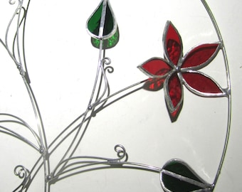 Love Blooms - 3D Stained Glass Wall Accent - Abstract Wire Flower Leaves Wire Home Decor Wall Hanging Suncatcher Whimsical (READY TO SHIP)