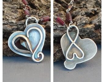 Garnet Pendant, Heart Pendant, Infinity Pendant, Love Forever