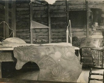 vintage photo 1915 Petoskey Michigan Pennant Cabin Interior Rustic Leather Bed Cover