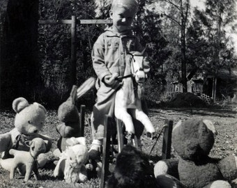 Vintage photo 1939 Little Boy rocking Horse Ride Toy Teddy Bear Toys