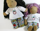 14, 15 inch Waldorf Clothes, school print pants and white apple patch top, doll clothing