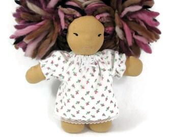 7, 8 inch chubby Waldorf doll flannel nightgown in sweet rosebud print flannel, doll nightgown