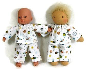 8 inch Waldorf doll's space pajamas, tiny baby pajamas, hanadmade boy doll clothes, baby doll pajamas