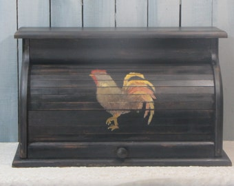 French Country Rooster Black Shabby Distressed Hand Waxed Bread Box Vintage Wood Roll Top