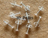 925 Sterling Silver PAD Earring Posts and Earring Backs (4mm.) - 10 Pairs (20 Pieces)