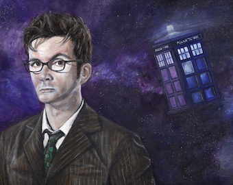Doctor Who David Tennant Acrylic Painting Art Print 11.7 x 16.5 inches