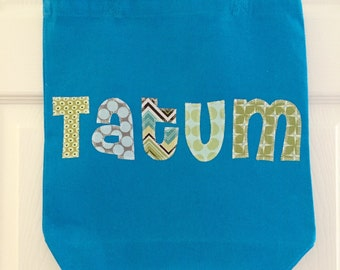 Boys Large Personalized Tote Bag - Library Book Bag, Sleepover Bag, Extracurricular Activity Bag - Pick Your Own Fabric Colors