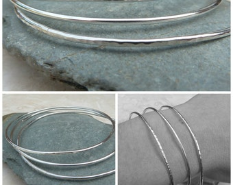 Sterling Silver Bangle Set - Stack of Three - BAN005