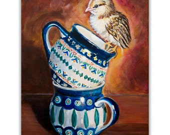 Polish Pottery Mugs Art Print Giclee, Rooster Kitchen decor chicken print wall decor, kitchen art, Heather Sims, Mat OPTION