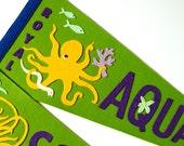 RESERVED - The Royal Aquarium Octopus Pennant (moss green) - felt art toy souvenir sea creature ocean fish yellow wall decor kawaii cute