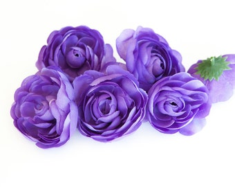 6 Small Ranunculus in Purple - 3 inches -artificial flower - Silk Artificial Flowers