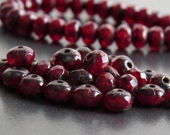 Red Opal Picasso Czech Glass Bead 5x3mm Rondelle :  Full Strand Garnet Donut Beads