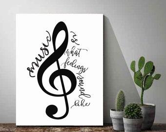Printable Word Art, Music Poster, Music Is What Feelings Sound Like, Music Print, Printable Women Gift, Instant Download, Printable Art