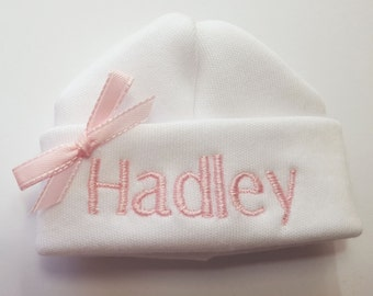 Personalized Embroidered Monogrammed Hat for Micro Preemie Mailed Priority