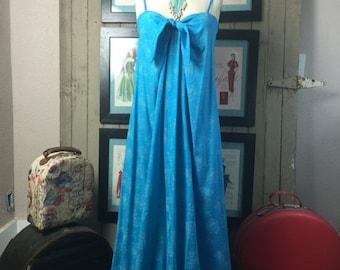 On sale 1960s teal sundress 60s maxi dress size medium Vintage dress Hawaiian dress