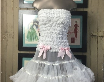 strapless tu tu dress tulle skirt crinoline dress size small medium Vintage dress dance dress lace costume