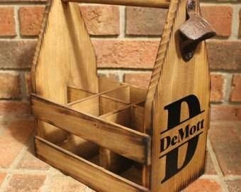 7 Wood Beer caddy Custom Tote MONOGRAM LETTER Rustic Carrier -  six pack holder - Man Cave - Custom Brewery - Bottle Opener - Groom Gift