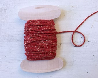 Thick Valentine Day  Twine, Red Gold Sparkle Twine, 20 yards, Bakers Twine