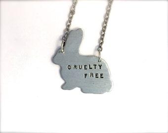 Cruelty Free  Bunny Necklace-Vegan Jewelry-Recycled Metals-Customizable