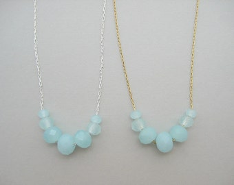 Crystal Bar Necklace - one (1) aqua blue Carrie necklace in delicate gold or silver plated chain, spring pastel light blue jewelry