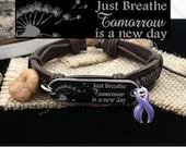DP-1 Crohns Awareness Ulcerative Colitis Bracelet Fibromyalgia Jewelry Chiari Malformation Just Breathe Leather Bracelet For Women & For Men