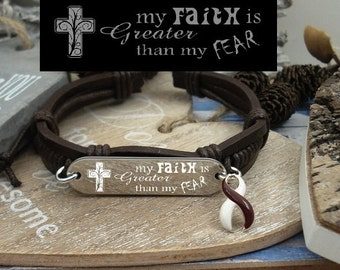 BY-4 Head & Neck Cancer Awareness Throat Cancer Oral Cancer Faith Greater Than Fear Gift Leather Bracelet For Him For Her Faith Bigger Than