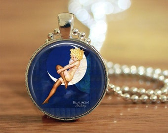 Blue Moon Pendant, Blue Moon Necklace, Blue Moon Jewelry, Crescent Moon, Vintage Moon, Art Pendant, Photo Pendant, Custom Photo Pendant