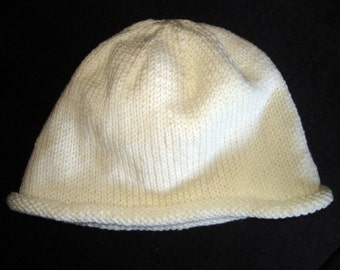 New Handmade Soft White Roll Brim Knit Hat - Medium to Large