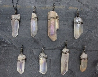 raw crystal necklace healing crystal point crystal necklace layering boho necklace rainbow quartz spike pendant  AB titianium quartz crystal