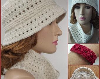 Ribbed Brim Hat, Cowl & Bracelet ~ Crochet Pattern